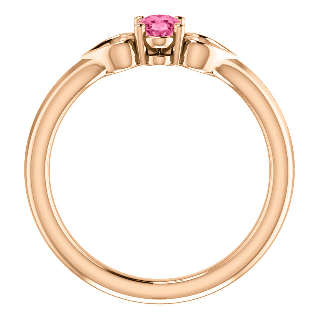 14K Rose 5x3 mm Oval Tourmaline Youth Heart Ring