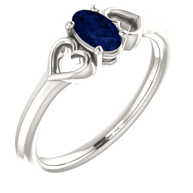 Sterling Silver 5x3 mm Oval Imitation Sapphire Youth Heart Ring