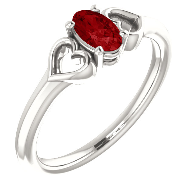 Sterling Silver 5x3 mm Oval Imitation Ruby Youth Heart Ring
