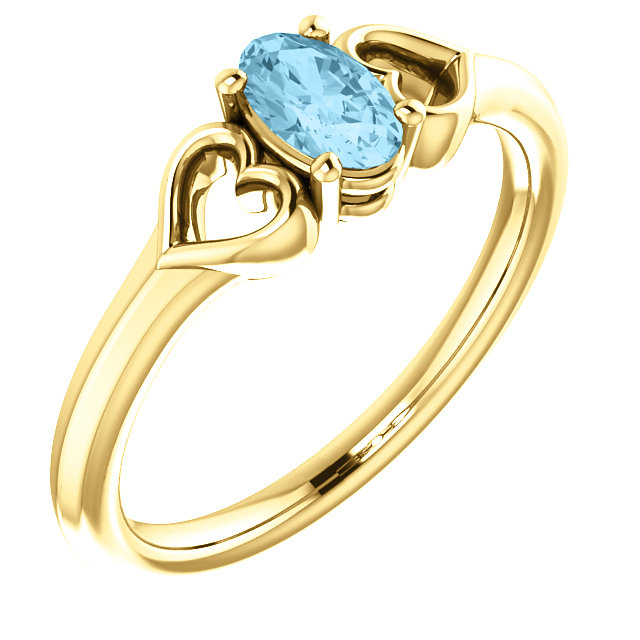 14K Yellow 5x3 mm Oval Aquamarine Youth Heart Ring