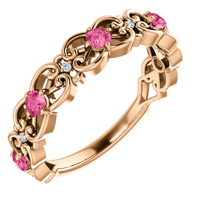 14K Rose Pink Tourmaline & .02 CTW Diamond Vintage-Inspired Scroll Ring