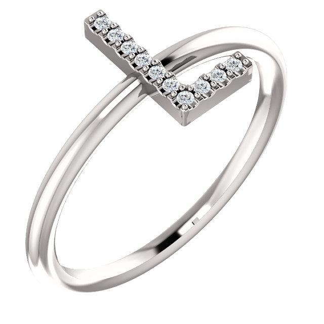 14K White .04 CTW Diamond  Initial L Ring