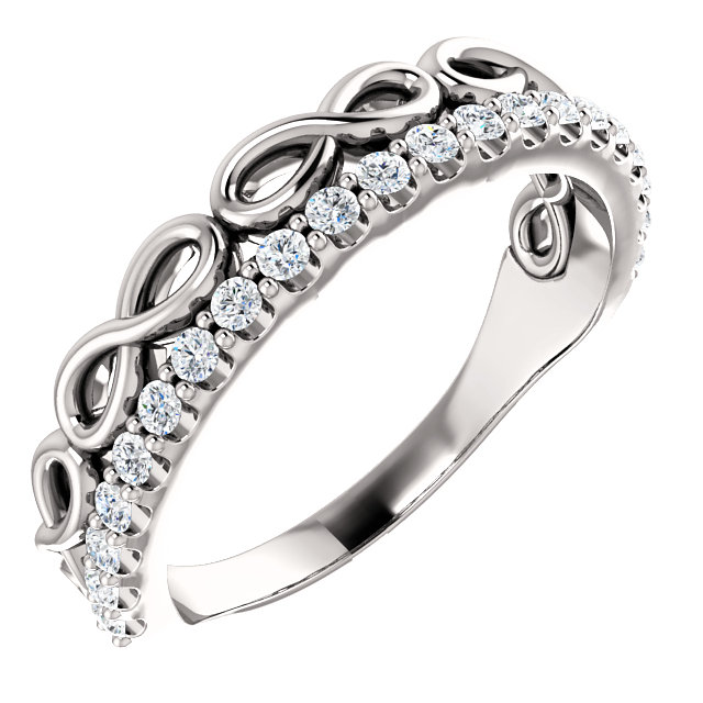 14K White 1/3 CTW Diamond Infinity-Inspired Stackable Ring