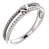 Milgrain Stackable Heart Ring
