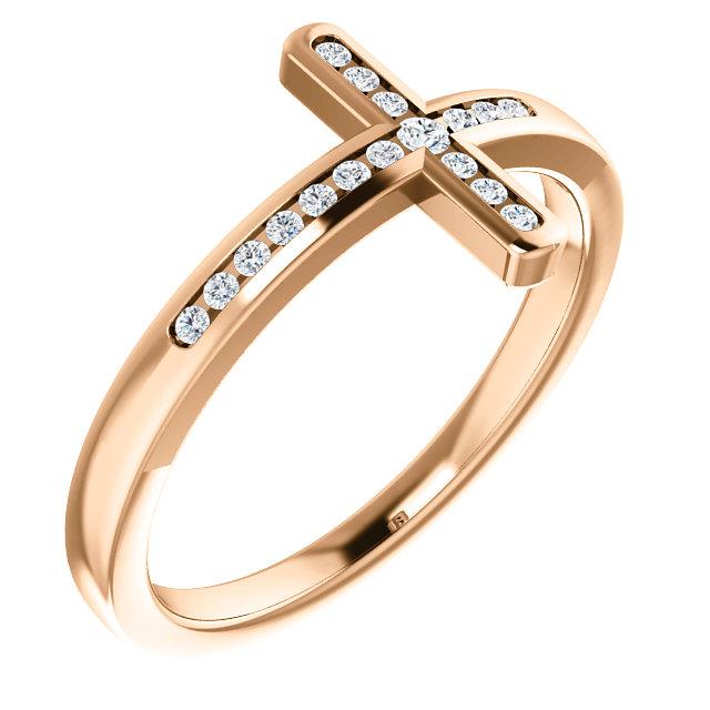 14K Rose 1/10 CTW Diamond Sideways Cross Ring