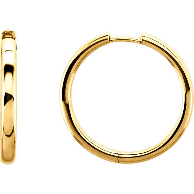 14K Yellow 24 mm Hinged Hoop Earrings