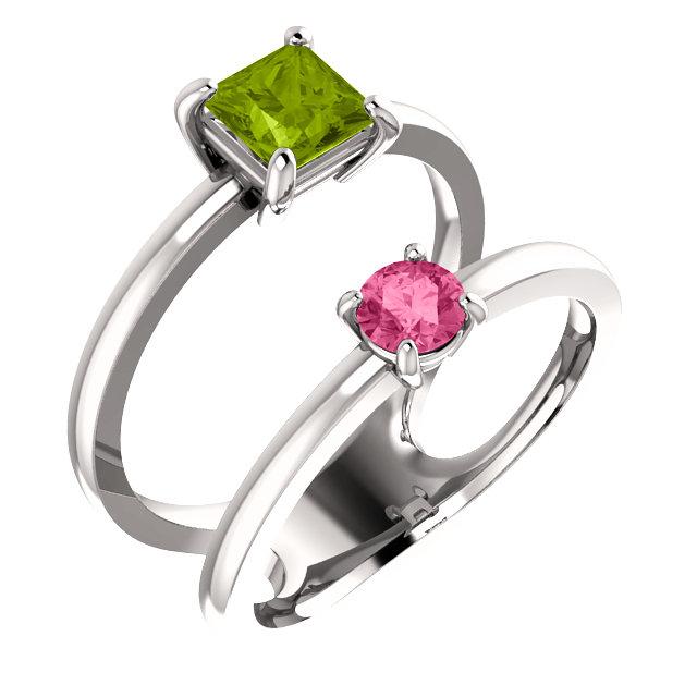 14K White Peridot & Pink Tourmaline Two-Stone Ring
