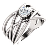 Solitaire Criss-Cross Ring