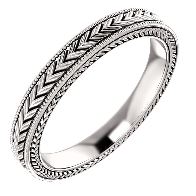 14K White 3mm Wheat Pattern Band Size 7