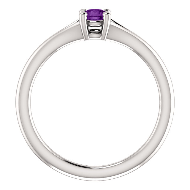 14K White Amethyst Youth Solitaire Ring