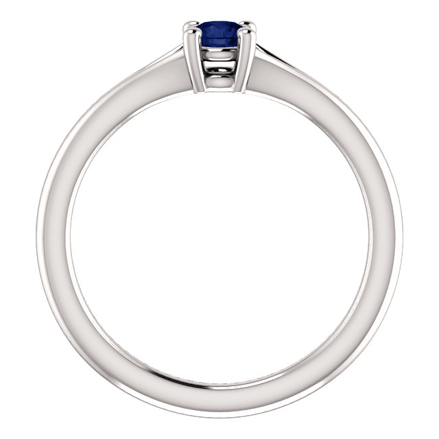 14K White Chatham® Created Blue Sapphire Youth Ring