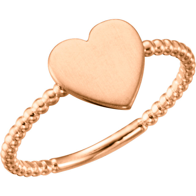 14K Rose Heart Engravable Beaded Ring