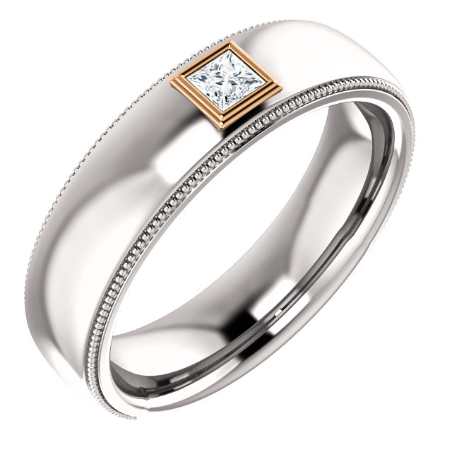 14K White & Rose 1/6 CTW Men-s Diamond Ring