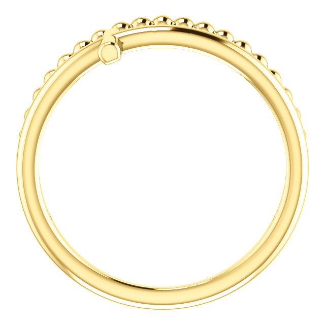 14K Yellow Negative Space & Beaded Cross Ring