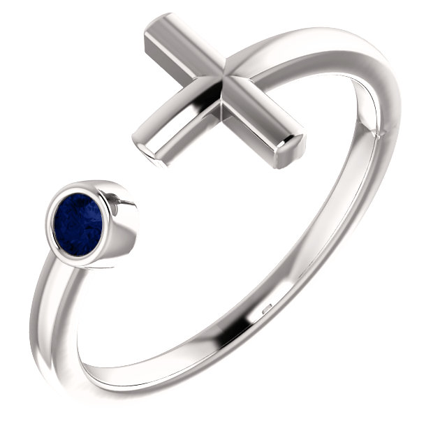 14K White Blue Sapphire Negative Space Cross Ring