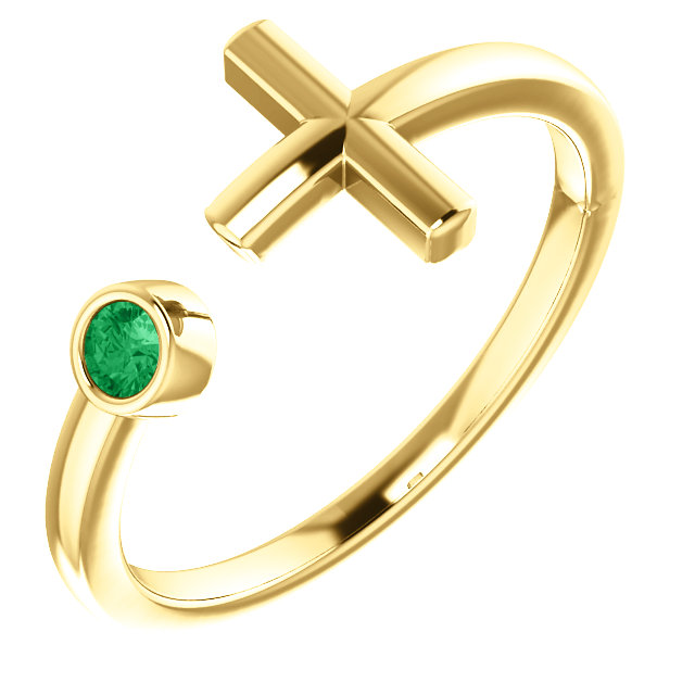 14K Yellow Emerald Negative Space Cross Ring