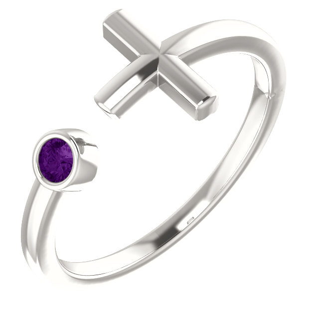 Sterling Silver Amethyst Negative Space Cross Ring
