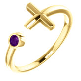 Bezel Set Negative Space Cross Ring