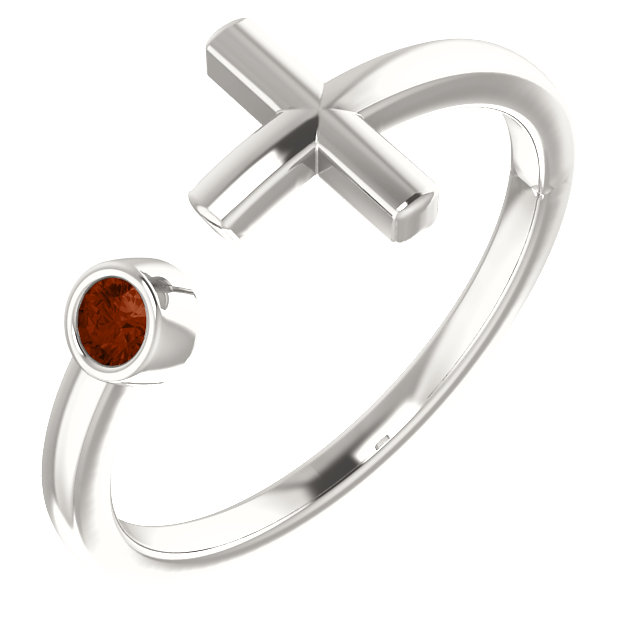 Sterling Silver Mozambique Garnet Negative Space Cross Ring