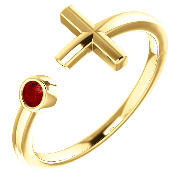 14K Yellow Chatham® Created Ruby Negative Space Cross Ring