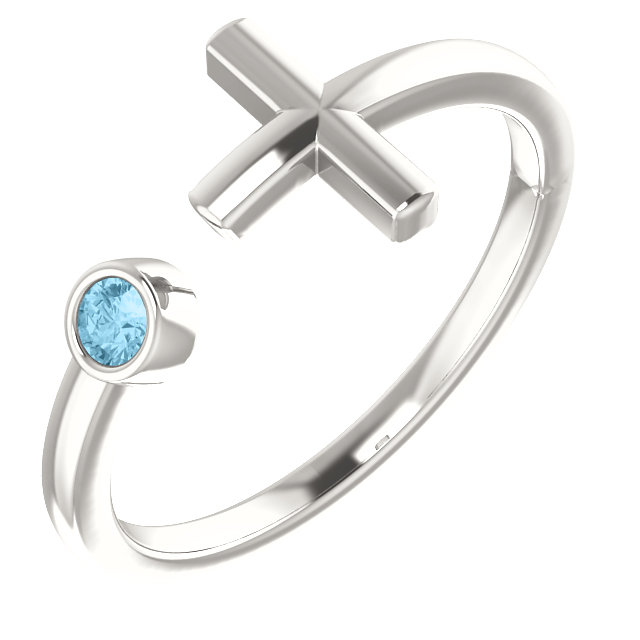 Sterling Silver Aquamarine Negative Space Cross Ring