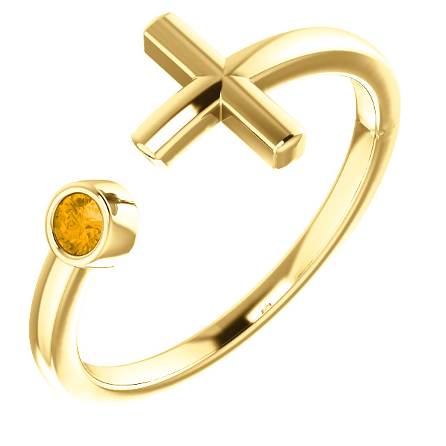14K Yellow Citrine Negative Space Cross Ring
