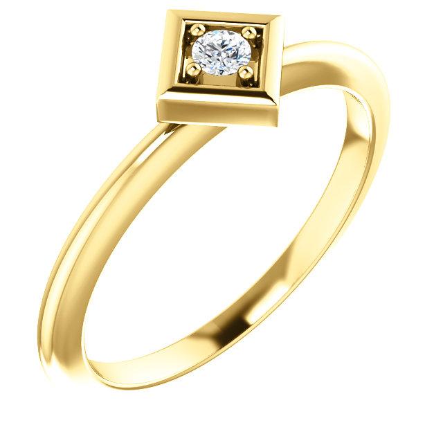 14K Yellow 2.5 mm Round .06 CTW Diamond Stackable Geometric Ring