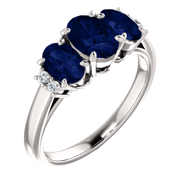 14K White Chatham® Created Blue Sapphire & .05 CTW Diamond Ring