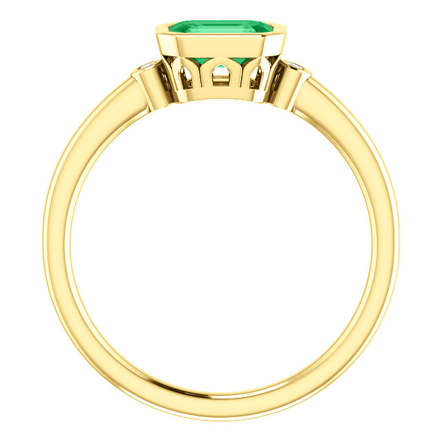 14K Yellow Chatham® Created Emerald & .02 CTW Diamond Ring