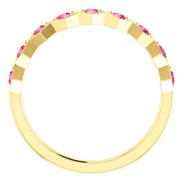 14K Yellow Pink Tourmaline Stackable Ring