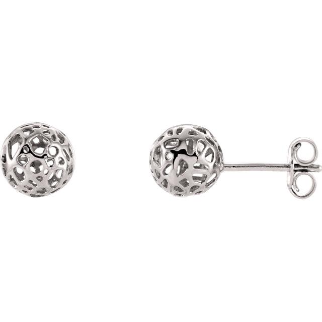 14K White Ball Earrings