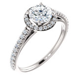 Charles & Colvard Moissanite® & Diamond Accented Halo-Style Engagement Ring