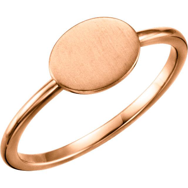 14K Rose Oval Engravable Ring