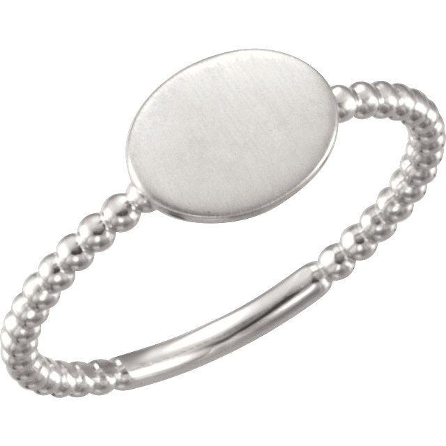 Continuum Sterling Silver Oval Engravable Beaded Ring