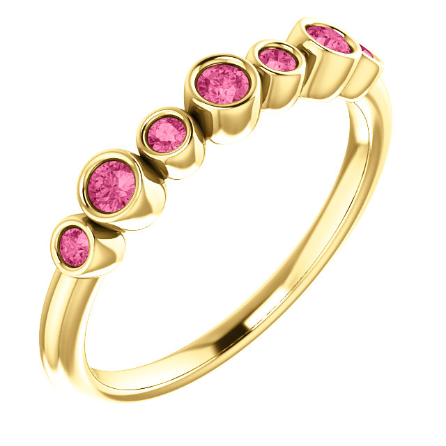 14K Yellow Pink Tourmaline Bezel-Set Ring