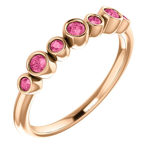 14K Rose Pink Tourmaline Bezel-Set Ring