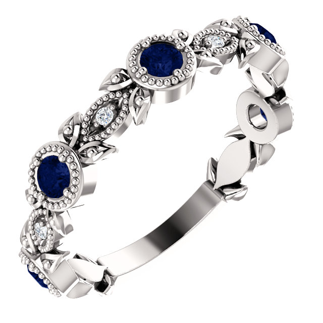 14K White Chatham® Created Blue Sapphire & .03 CTW Diamond Leaf Ring