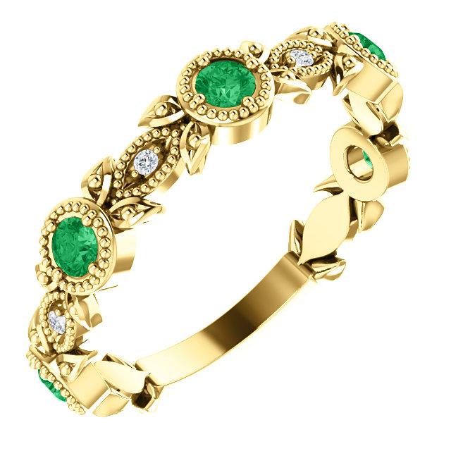14K Yellow Emerald & .03 CTW Diamond Leaf Ring