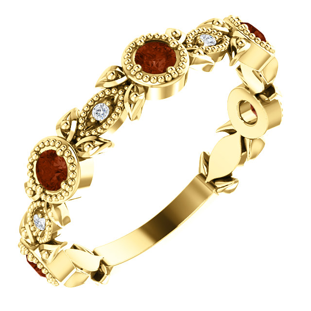 14K Yellow Mozambique Garnet & .03 CTW Diamond Leaf Ring