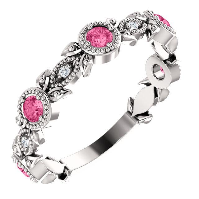 14K White Pink Tourmaline & .03 CTW Diamond Leaf Ring