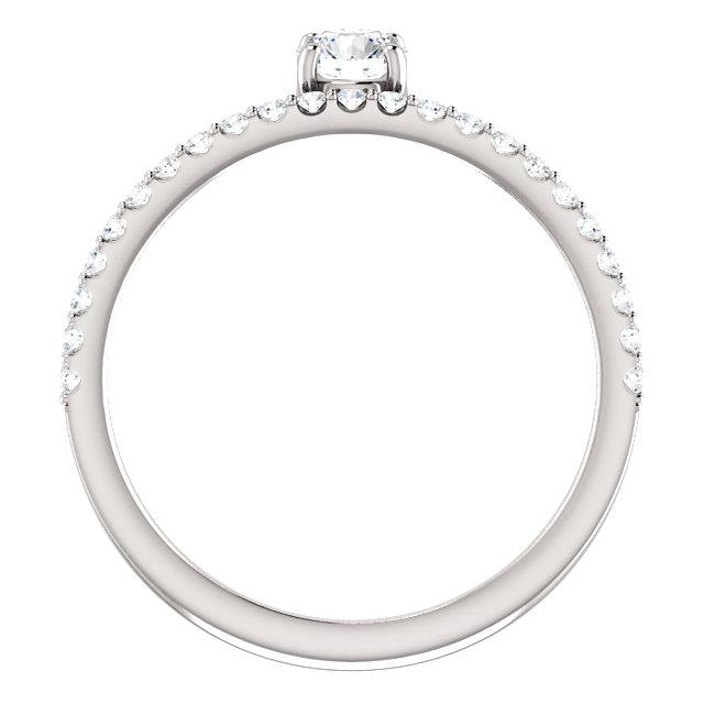 14K White 1/2 CTW Diamond Asymmetrical Stackable Ring