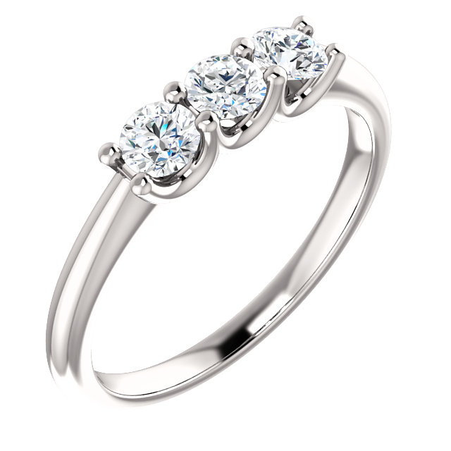 14K White 3.5mm Round Forever One™ Moissanite Three Stone Ring