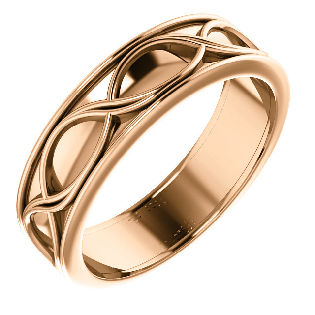 14K Rose 6 mm Infinity-Inspired Band Szie 11
