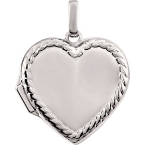 14K White Heart Rope Design Locket