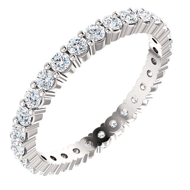 14K White 7/8 CTW Diamond Eternity Band Size 7
