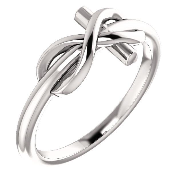 14K White Infinity-Inspired Cross Ring