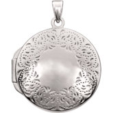 Design-Engraved Round Locket