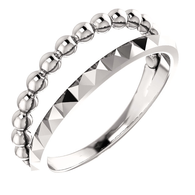 14K White Beaded & Geometric Stacked Ring