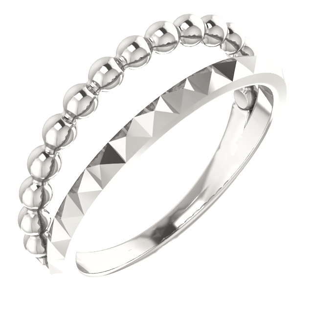 Sterling Silver Beaded & Geometric Stacked Ring