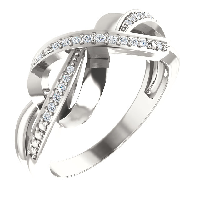 Sterling Silver 1/10 CTW Diamond Infinity-Inspired Ring